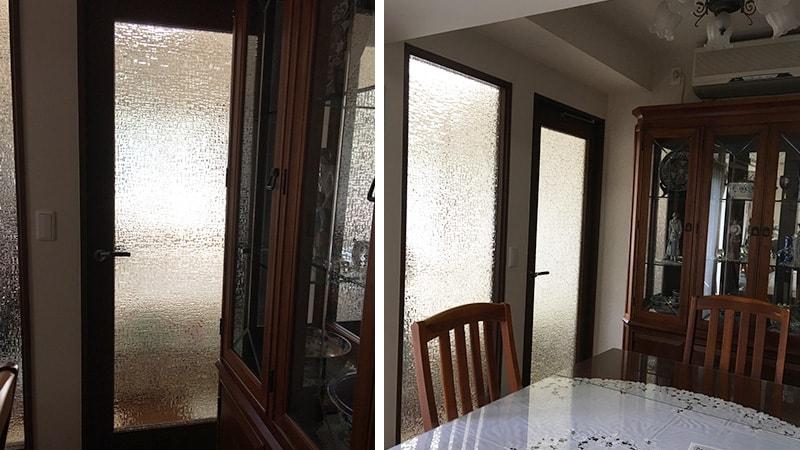 寝室とリビングの間のドアとFIX窓に「アブストラクト」を設置した事例(東京都杉並区 B様)のお写真