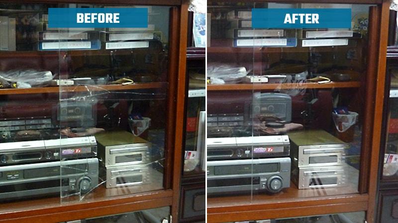 オーディオラックと書棚の扉に「透明ガラス」を使用した事例(東京都世田谷区 K様)のお写真