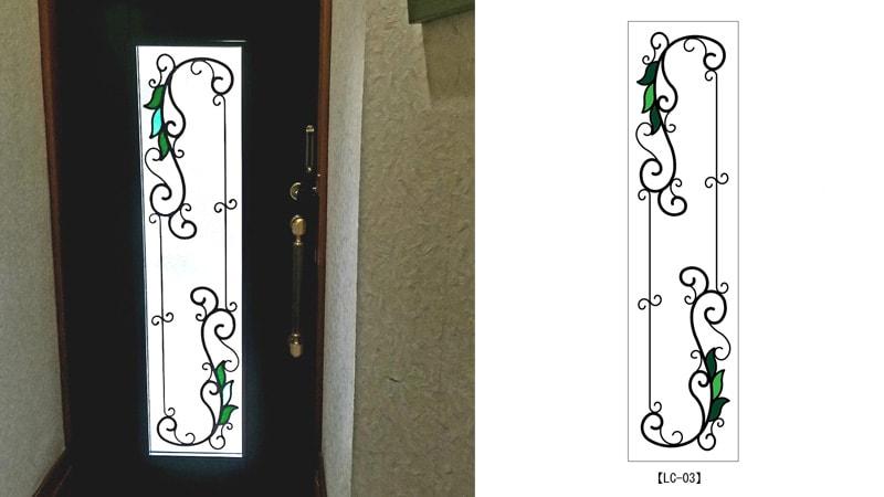 お客様事例 : 玄関ドア窓にアイアン調のシンプルな「ステンドグラス」を設置した事例(京都市山科区 A様)