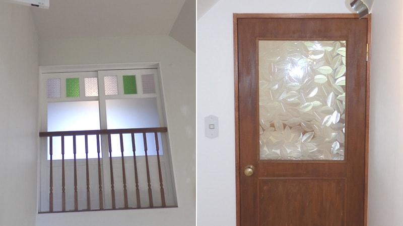 屋根裏部屋をリフォーム!引き戸とドア窓に「デザインガラス」を使用した事例(北海道函館市 M様)のお写真