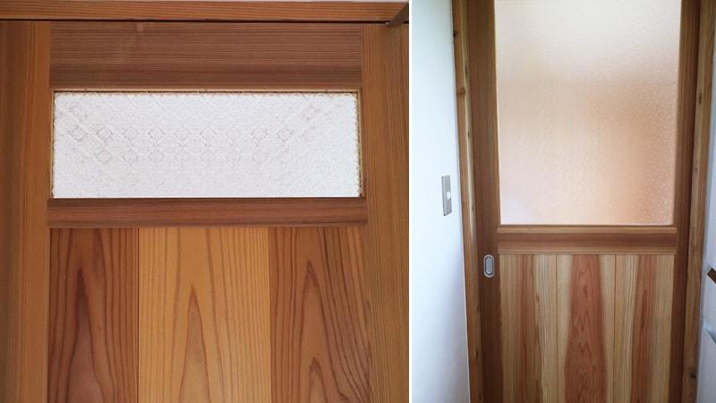 農家民宿のドア窓に人気「デザインガラス」3種類を使用した事例(静岡県賀茂郡 大同ファーム様)のお写真