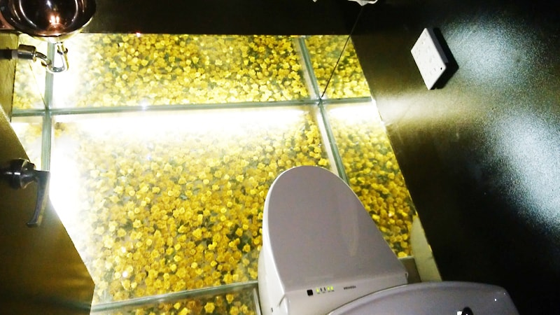 ガラス張りの床で幻想的に!店舗トイレの床に「床用ガラス」を使用した事例(兵庫県尼崎市 S様)のお写真