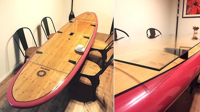 サーフボードをテーブルに!テーブルトップに「 強化ガラス」を使用した事例(神奈川県藤沢市 M様)のお写真