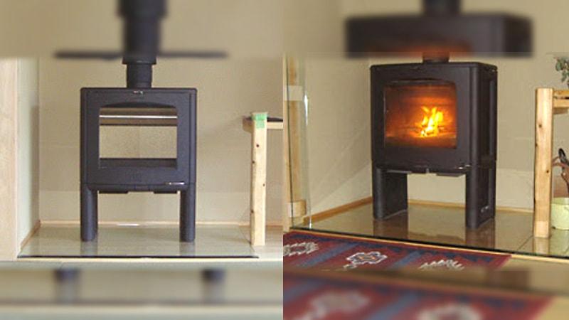薪ストーブのフロアプレートに「強化ガラス」を使用した事例のお写真