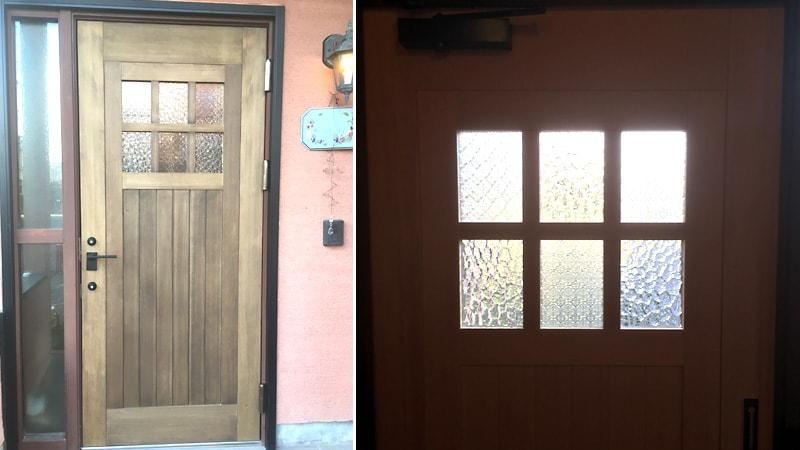 玄関ドアに人気デザインガラス2種類を使用した事例(滋賀県東近江市 N建具店様)のお写真