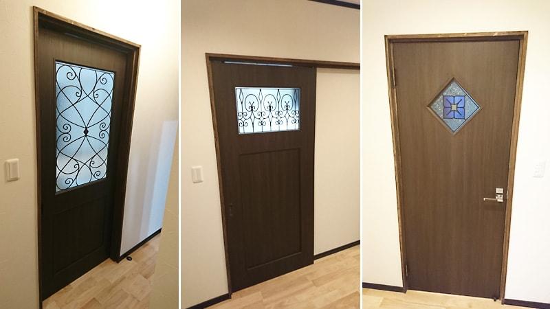 木製ドアにマッチ!ドア窓に「ステンドグラス」を設置した事例(宮崎県西都市 A様)