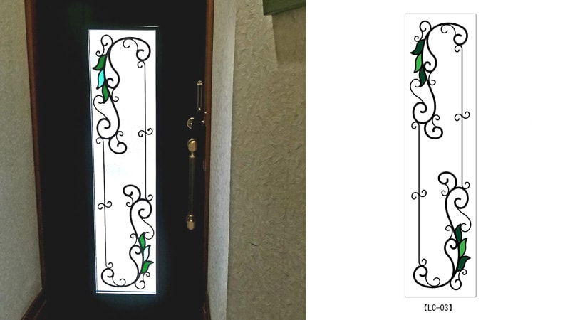 玄関ドア窓にアイアン調のシンプルな「ステンドグラス」を設置した事例(京都市山科区 A様)