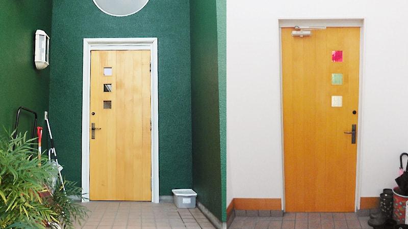 玄関のドアにデザインガラスの「スペクトラムウォーター」を使用した事例(石川県金沢市 D社様)のお写真