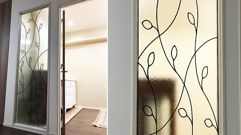 お客様事例 : リフォームで室内間仕切りを製作!ステンドグラスの「ラインアート」を使用した事例(東京都荒川区 S社様)