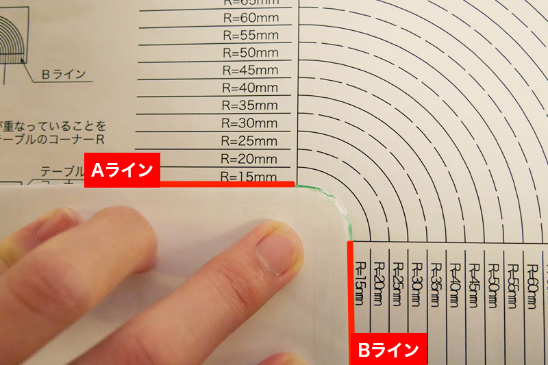 テーブルの「コーナーR」の測り方を教えてほしい