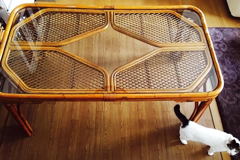 籐テーブルの天板に使用した「強化ガラス」(2)