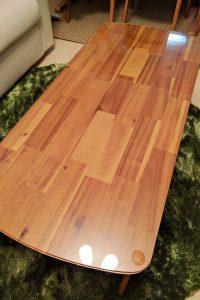 リビングのテーブルトップに使用した「強化ガラス」(3)