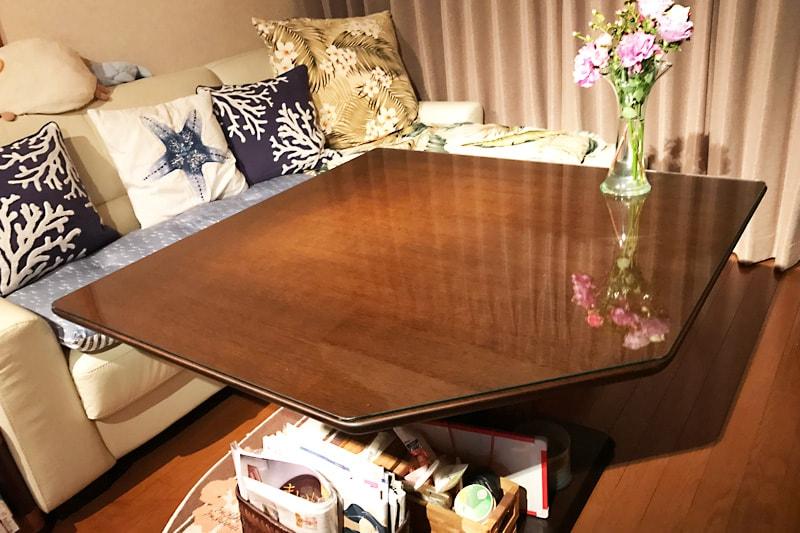 五角形のテーブルに使用した「強化ガラス」(1)