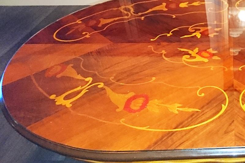 象牙細工の小判形テーブルに使用した「強化ガラス」(2)