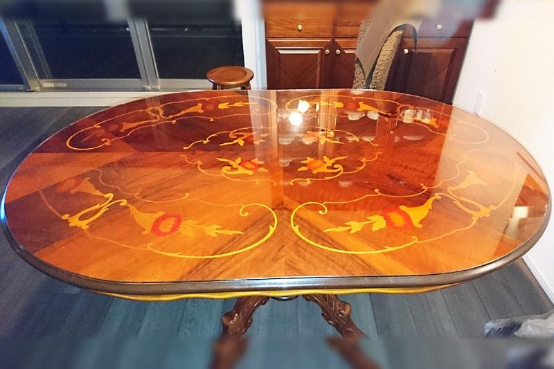 象牙細工の小判形テーブルに使用した「強化ガラス」(1)