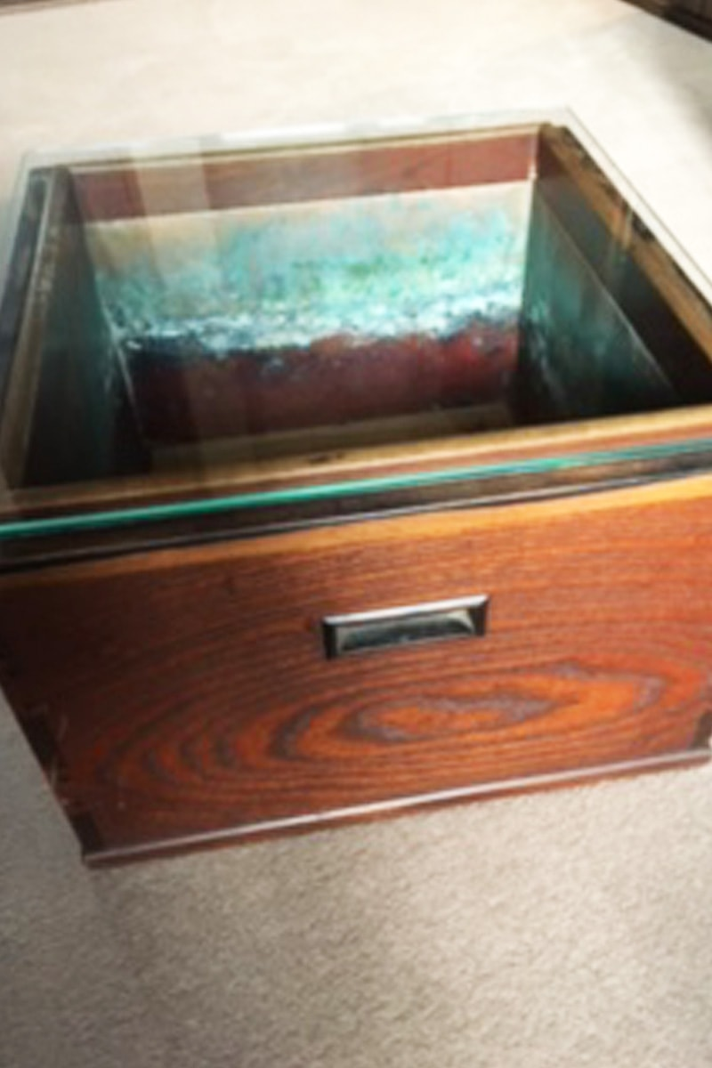 火鉢のテーブルトップに使用した「強化ガラス」(2)
