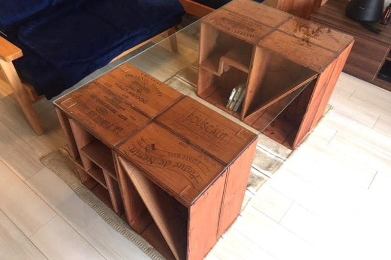 ワイン木箱のテーブル天板に使用した「強化ガラス」(1)