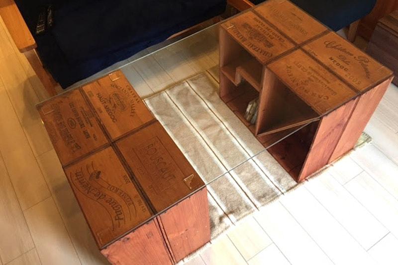 ワイン木箱のテーブル天板に使用した「強化ガラス」(3)