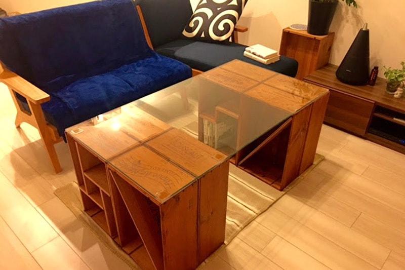 ワイン木箱のテーブル天板に使用した「強化ガラス」(4)