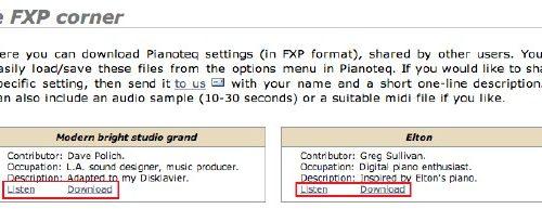 Pianoteqユーザー作成パッチのダウンロード