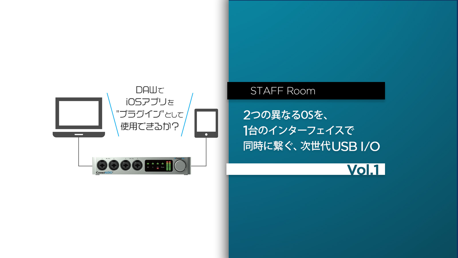 スタッフルーム:2つの異なるOSを、1台のインターフェイスで同時に繋ぐ、次世代USB I/O Vol.1