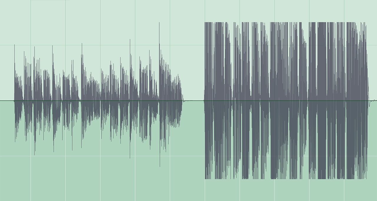 ギターパートを適正レベルで録音した波形
