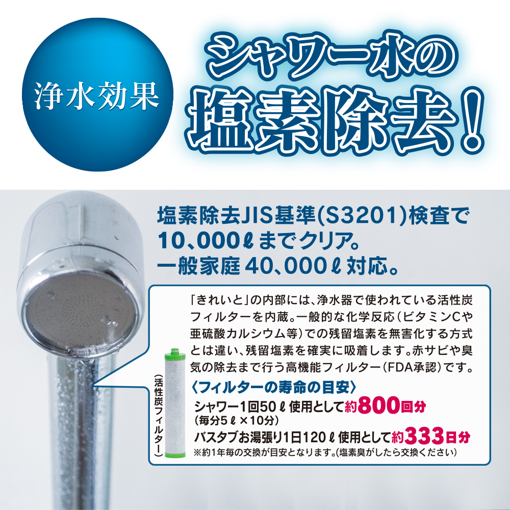 シャワー水の塩素除去!