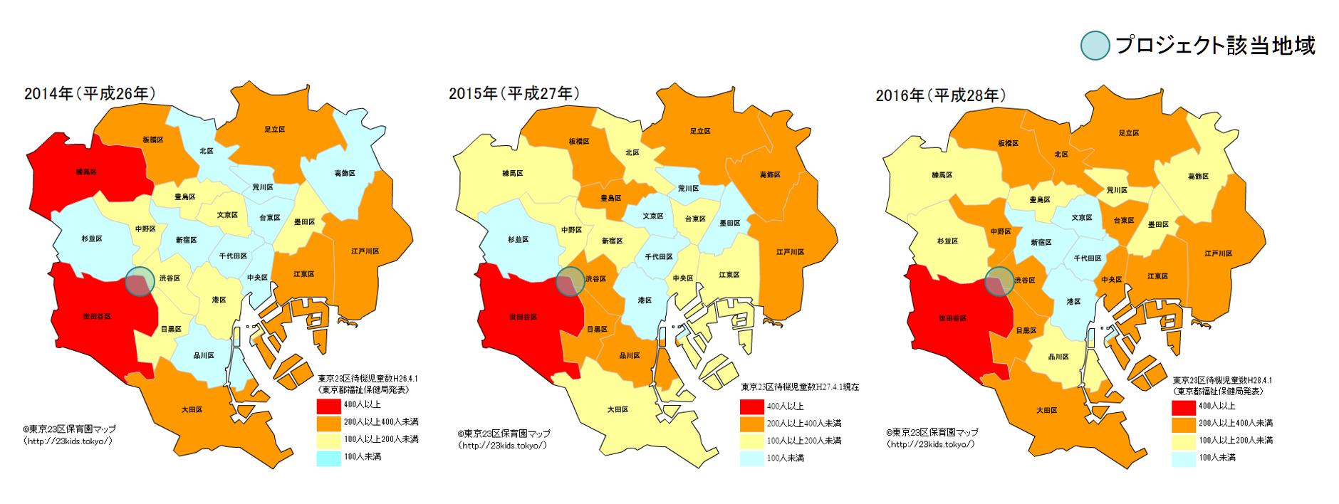 東京23区別待機児童数