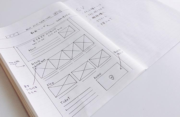 ノートにラフ作成したワイヤーフレーム