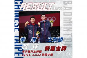 恭賀 李洋/王齊麟 奪得 2020 東京奧運羽球男子雙打金牌