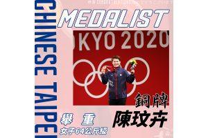 恭賀 陳玟卉 選手奪得 2020 東京奧運女子舉重 64 公斤級銅牌