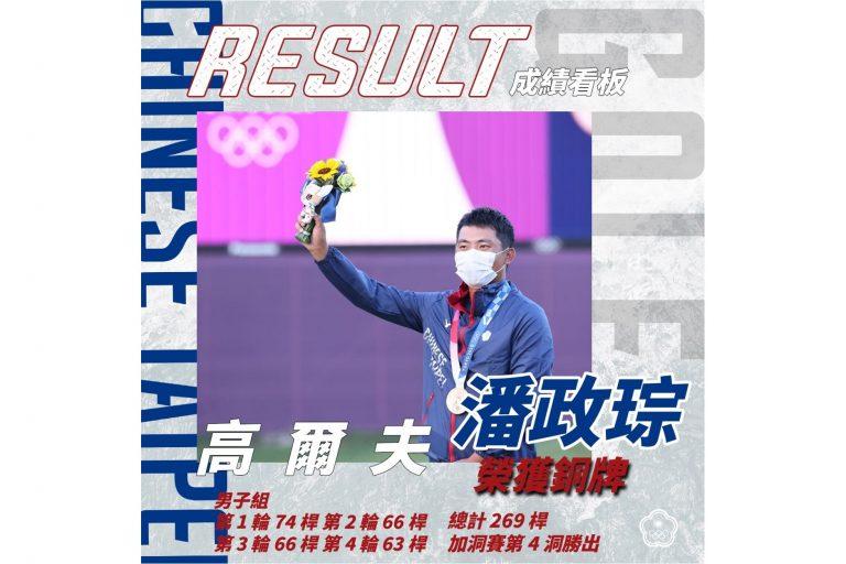 恭賀 潘政琮 奪得 2020 東京奧運高爾夫男子銅牌
