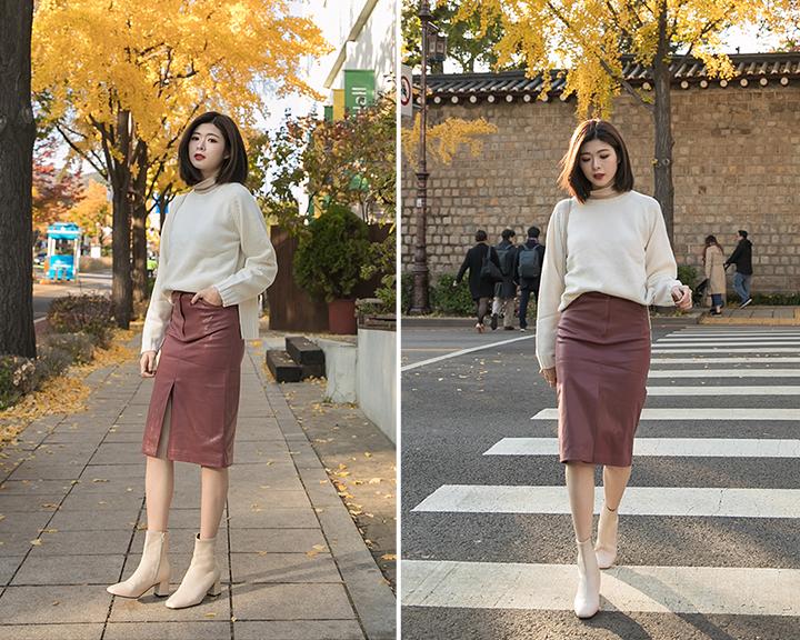 過膝中裙與尖頭白鞋、尖頭跟鞋穿搭照