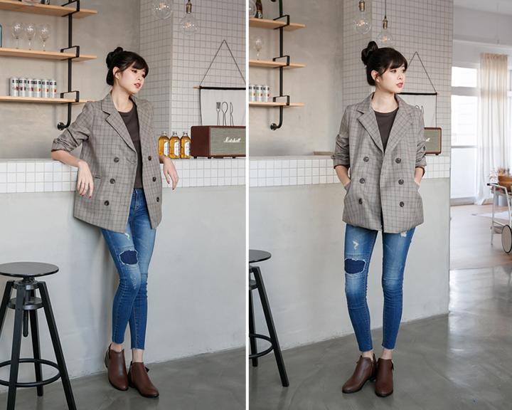 西裝外套與v口靴、樂福鞋穿搭照