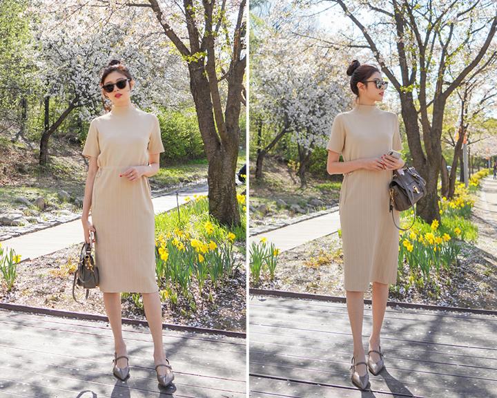 針織洋裝與長靴、尖頭平底鞋的換季穿搭照