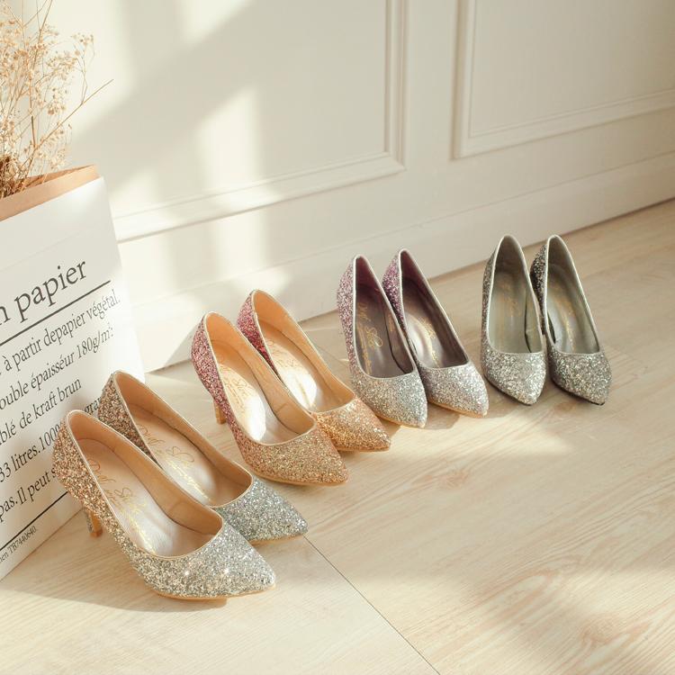 新娘鞋 伴娘鞋 婚鞋挑選 漸層閃料亮片水台高跟鞋