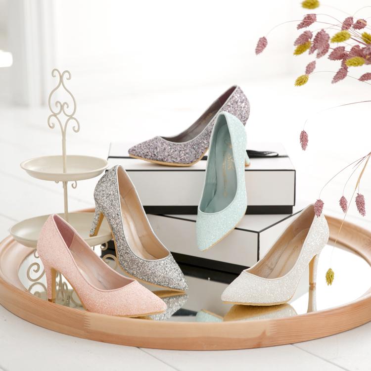 新娘鞋 伴娘鞋 婚鞋挑選 滿滿亮片美型尖頭高跟鞋