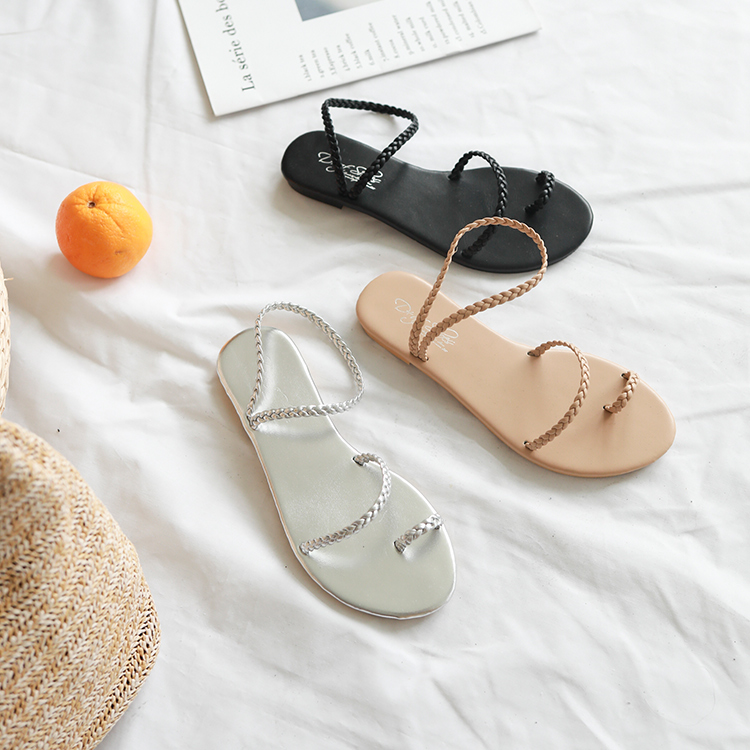 麻辮編織涼鞋
