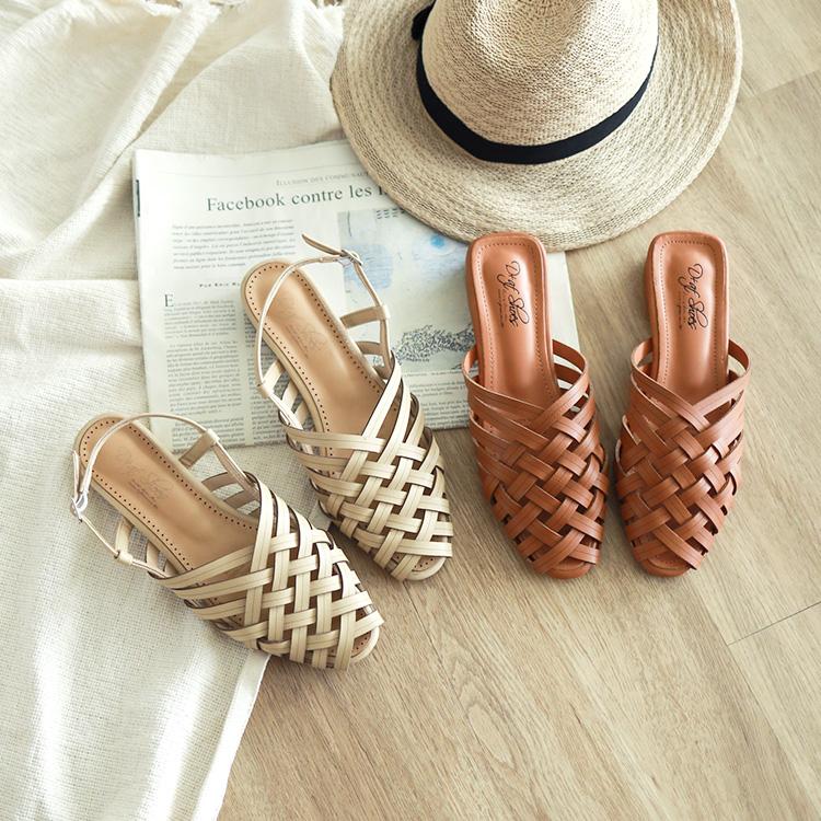 韓風編織涼鞋