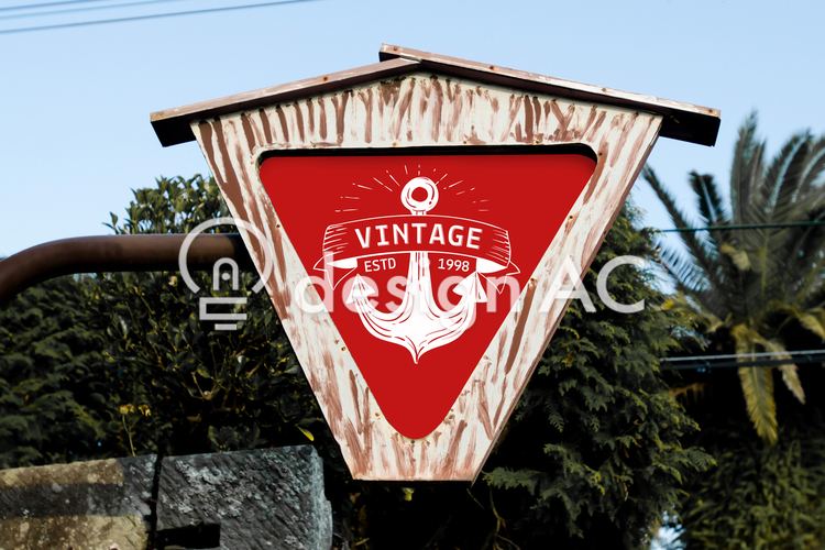 Mock up, Commercial, design, Mock up, business, shop, image, logo, Signboard, Outdoors, red, vintage, anchor, Anchor, Inverse triangle