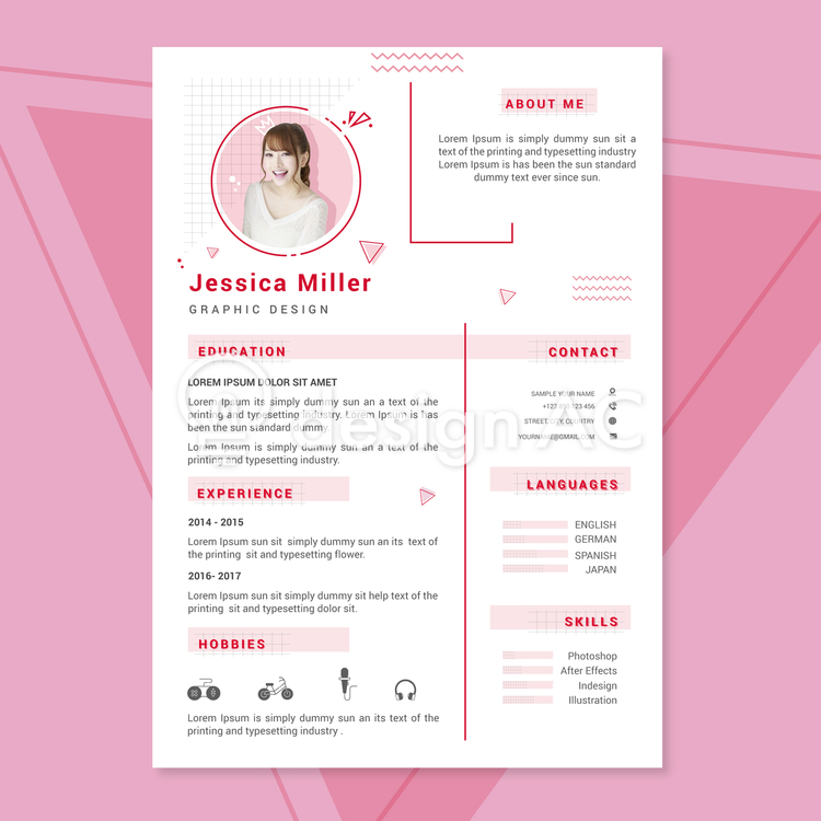 Resume, Resume, Pink, Career, Work history, business, jobs, Vacancies, personnel, Person introduction, Self-introduction, Curriculum vitae, Vertical, simple, interview, template