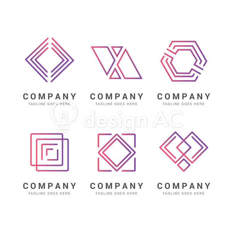 Logo design, logo, business, design, set, simple, graphic, Gradation, purple, Company, collection, template, icon, pattern, Geometric, Abstract, Color, Geometry