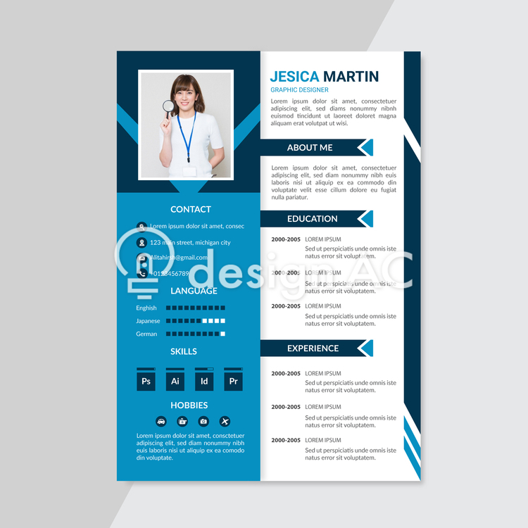 Resume, Blue, Resume, Career, Work history, business, jobs, Curriculum vitae, template, interview, Vacancies, personnel, Self-introduction, Person introduction, simple, Vertical