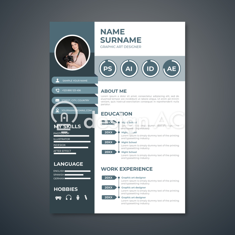 Resume, Portrait photography, gray, template, Resume, personnel, Career, Work history, Curriculum vitae, Vacancies, Self-introduction, simple, Person introduction, jobs, interview, Vertical