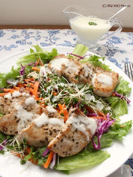 グリル豚肉と彩り野菜のサラダ