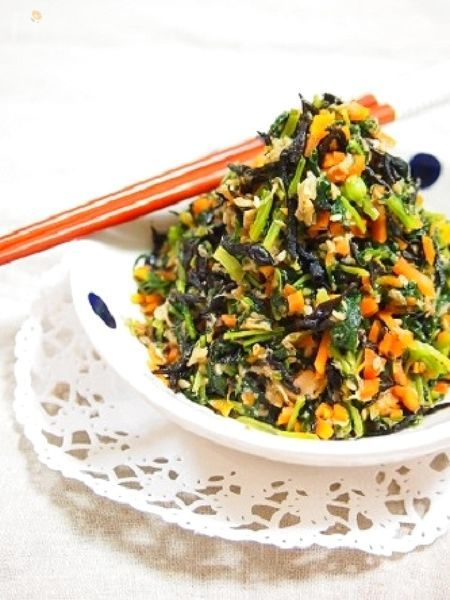 ビタミンたっぷりご飯のおとも♫大根葉とひじきのツナ炒め