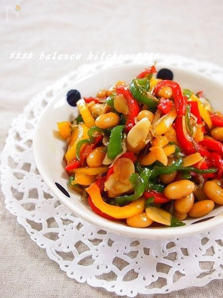 【常備菜】カラフルピーマンと大豆のじゃこナッツ炒め