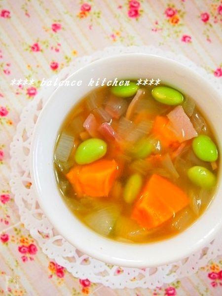 煮るだけ10分!甘~いカボチャと枝豆のスープ
