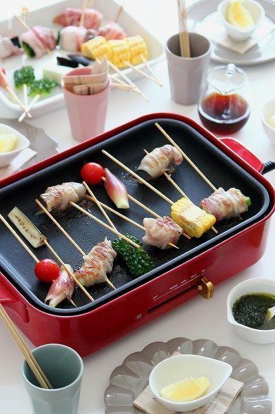 彩夏野菜の豚ロール串。