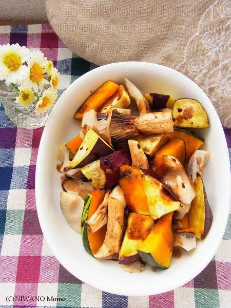 秋野菜のホットサラダ バルサミコソース